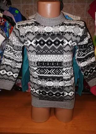 Жаккардовый свитер для мальчика, р. 3, 5 лет