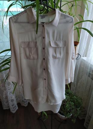 Рубашка с кармашками в полосочку