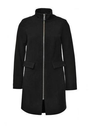 Осеннее модное пальто демисезонное полупальто на молнии из шерсти мериноса