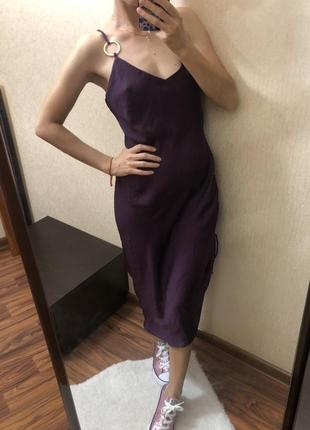 Шикарное вечернее шелковое платье миди фиолетового цвета размер s
