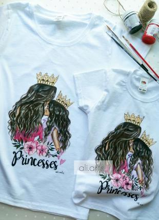 Крутые футболки базовые family look для мамы и дочки с росписью красками рисунок не принт
