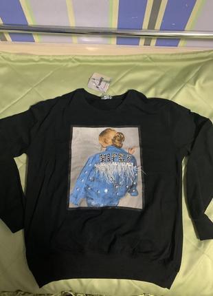 Нереальный свитшот толстовка свитер со стразами и перьями