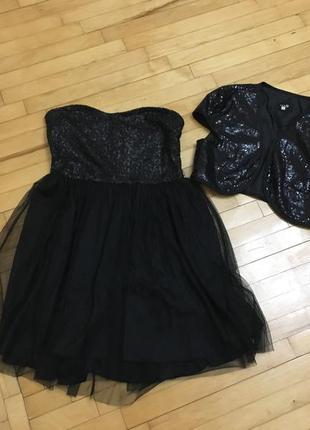 Маленькое чёрное платье бюстье и болеро вечернее