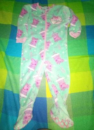 Теплая плюшевая пижама свинка пеппа1 фото