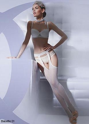 Эротические колготки имитация чулок с подвязками 3-м gatta babette микротюль с рисунком