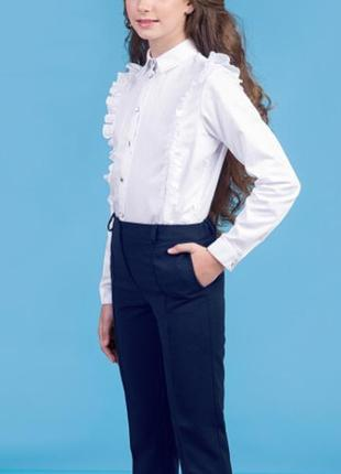 Брюки школьные синие классические для девочки размер 134-1401 фото