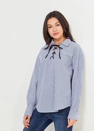 Блуза хлопок свободного стиля в полоску со шнуровкой длинный рукав размер s/p 8-10 gap