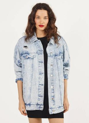 Джинсовая куртка bershka, джинсовка оверсайз, тренд сезона, xs, s, m
