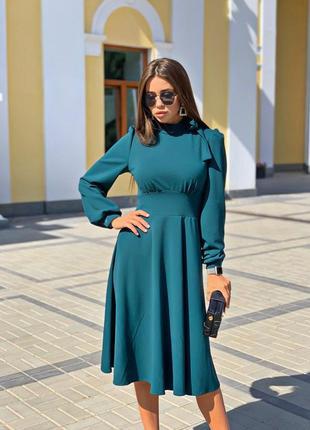Платье женское миди изумруд с рукавом