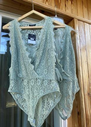 Шикарный кружевной боди блуза кружево бодик мятный боді