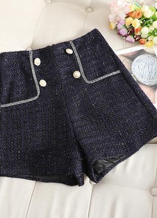 Стильные женские  шорты из твида цвет темно синий размер s, м