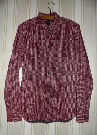 Рубашка мужская / черная в сердечки /длинный рукав размер 40 // l
