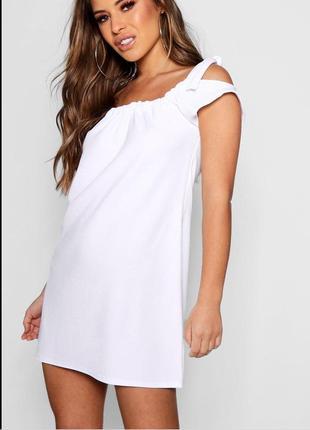 Платье, платье с завязками, платье трапеция, мини платье, платье на плечи, сарафан