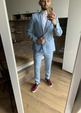 Мужской деловой классический голубой костюм пиджак штаны брюки burton menswear london