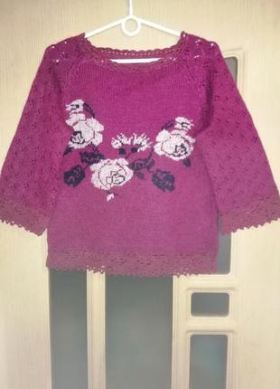 Пуловер с отделкой кружево