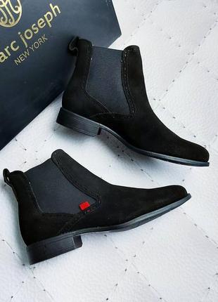 Marc joseph new york оригинал замшевые черные ботинки челси