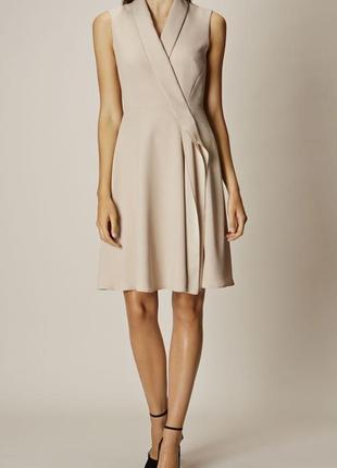 Шикарное элегантное платье пиджак на запах бежевое новое до колен