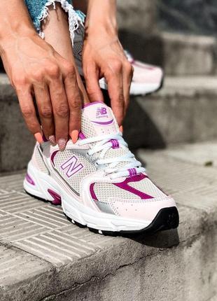 New balance 530 white белые с розовым женские кроссовки наложенный платёж купить