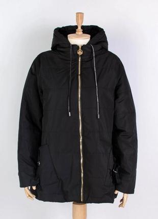 Стильная черная осенняя деми куртка модная батал большой размер