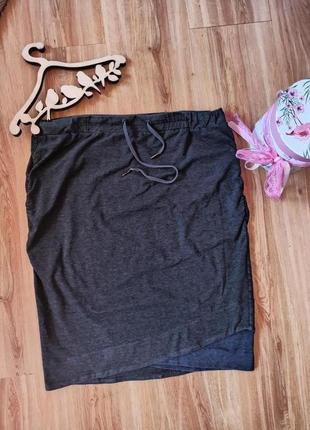 #трикотажная юбка#спортивная юбка#серая юбка# на завязках