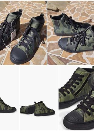 Zara высокие ботинки кеды с камуфляжным принтом. на осень1 фото
