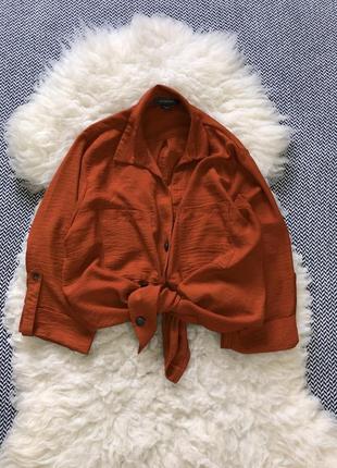 Оверсайз рубашка блуза свободная с пуговками и карманами