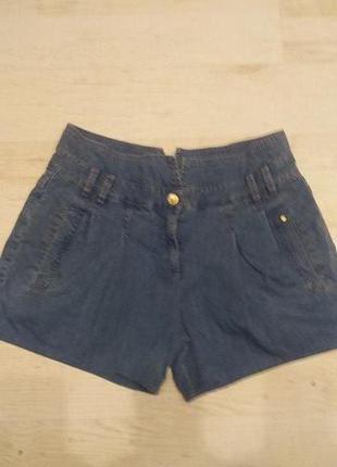 Шорты синие джинсовые с завышеной талией f&f раз.м