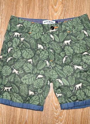 Коттоновые подростковые шорты тропический принт