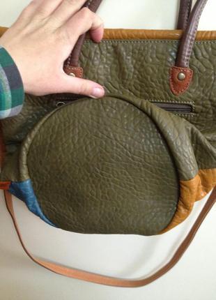 Экокожанная сумка из кусочков3
