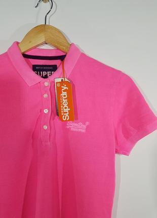 Женская футболка поло розовая малиновая новая superdry super dry