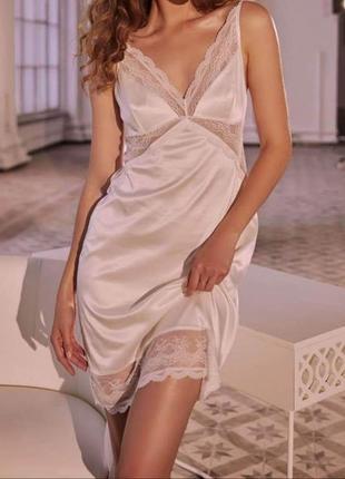 Изящное однотонное платье из сатина и кружева, пеньюар рубашка, тм anabel arto