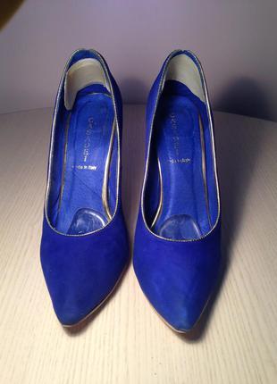 Туфли синие замш