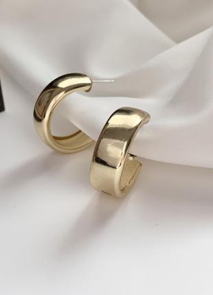 Серьги серёжки кольца колечки золотистые новые стильные модные