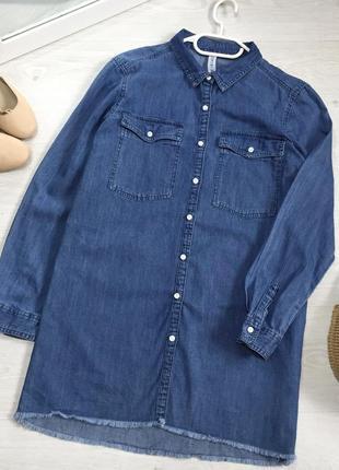 Подовжена джинсова сорочка