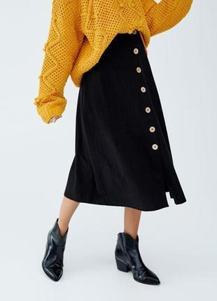 Обнова! юбка миди черная с пуговицами трапеция а-силуэт ,бренд  sisters pointr