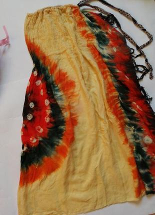 Платье из натуральной ткани с открытыми плечами, р с - м