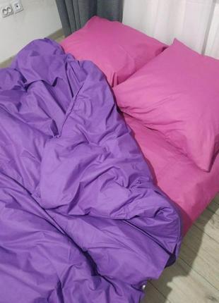 Натуральный постельный однотонный комплект фиолет+розовый разные размеры!сделано в украине