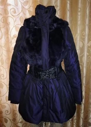 🌹🌹🌹красивая новая женская теплая куртка, пуховик с мехом кролика myokie paris🌹🌹🌹