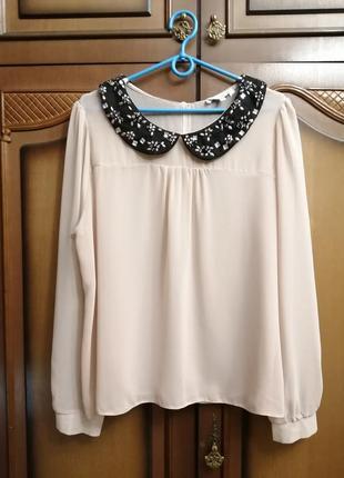 Блузочка пудровая шифоновая с воротничком
