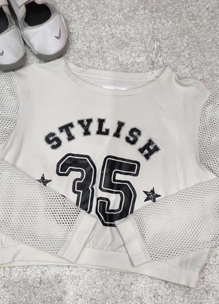 Укороченный спортивный свитер