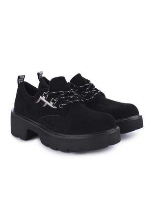 Замшевые туфли лоферы ботинки на платформе оксфорды на шнуровке