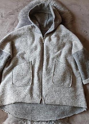 Шерстяное легкое пальто кардиган италия стиль oska