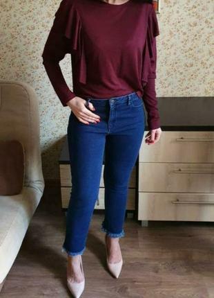 Красивая бордовая легкая  кофточка с рюшами размер м2 фото