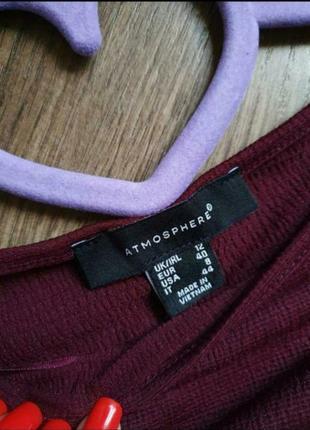 Красивая бордовая легкая  кофточка с рюшами размер м3 фото