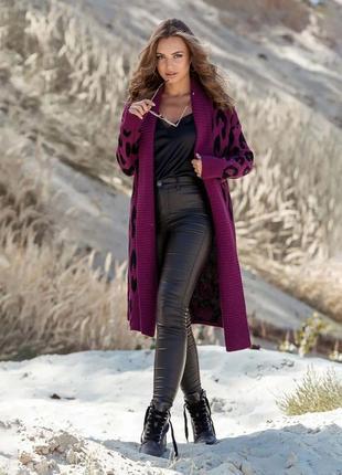 Вязаное пальто с леопардовым принтом - фуксия