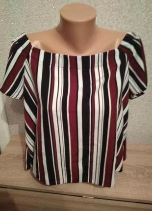Топ new look блуза в полоску  оголённые плечи