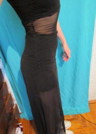 Длинное черное платье сетка кроп топ и юбка с высокой талией, цена ... ed3c82c7d51