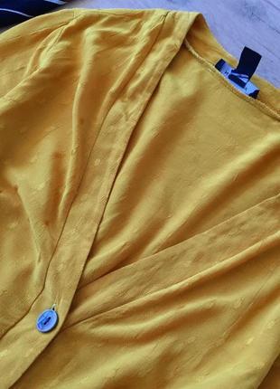 Горчично-желтая рубашка в горошек / блузка / сорочка