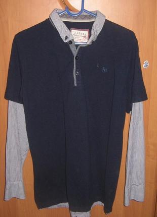 Реглан поло-рубашка -обманка на 12-13 лет