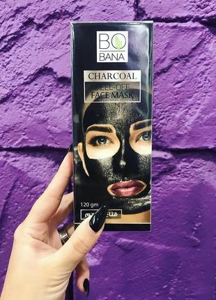 Угольная чёрная маска плёнка для лица носа от чёрных точек bobana